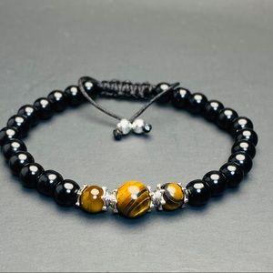 Tiger Eye Onyx Sterling Silver Beaded Bracelet
